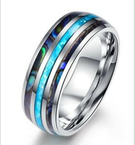 Chic Men/ Women Natural Seashell & Blue Opal Titanium Stainless Steel Ring 8-12