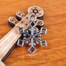 50pcs 20mm Charms Snow Flower Pendant Tibet Silver DIY Jewelry Bail Charm A7352