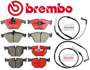 Front Brake Pads & Rear Brake Pads Ceramic OEM Brembo + Sensor BMW 335i d 07-10