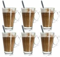 6 X 240ml Latte Glasses Tea Coffee Cappuccino Glass Cups Hot Drink Mugs W Spoons