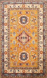 Vegetable Dye Geometric Super Kazak Oriental Area Rug Hand-knotted Wool 3x4 ft