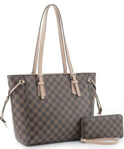 Checkered Tote Shoulder Bag with inner pouch with detail - PU Vegan Leather