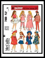 "McCall's 7480 Fabric Sewing Pattern Barbie sister 9"" SKIPPER DOLL Mattel Clothes"