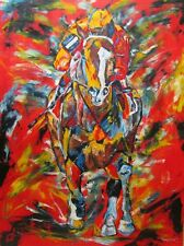 Lost In The Fog horse racing art original oil painting