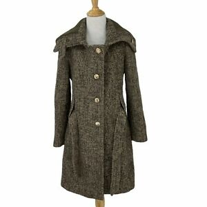 Calvin Klein Wool Blend Knit Over Coat Womens Size 2 Belted Ribbed Collar Jacket
