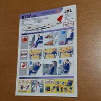 SAFETY CARD JAL Japan Air lines B747-400