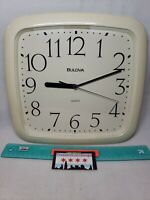 "VINTAGE RETRO White BULOVA Electronic Plastic Wall Clock QUARTZ Japan Movt 11"""