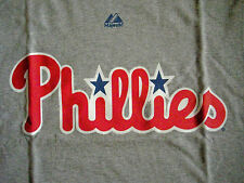 MENS NWT PHILA. PHILLIES GRAY TEE BY MAJESTIC, SZ. S, M, L. MAKES A GREAT GIFT