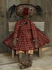 PATTERN Primitive Raggedy Black Doll w/ stitched face EASY TO DO! UNCUT