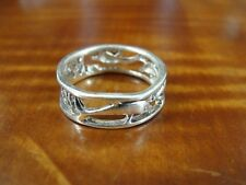 Silver 925 Ring Size 6 1/4 Dolphins Cut Out Design Band Sterling
