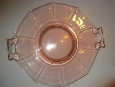 Imperial Pink Depression Glass Molly 2 Handled Cake Plate Excellent!