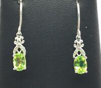 Sterling Silver Oval Peridot / Diamond Accent Swirl Petite Dangle Hook Earrings