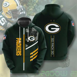 Green Bay Packers Hoodie Pullover Hooded Sweatshirt Casual Jacket Gift for Fans