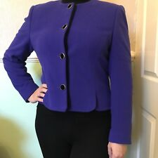 Vintage 1980s Viyella Cropped Tailored Fitted Jacket in Purple, Wool Blend