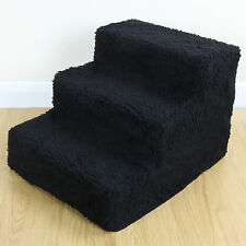 Dog/Puppy/Cat 3 Step Pet Stairs Car/Sofa/Bed Washable Soft Black Cover Cat Steps