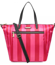 Victoria's Secret satin stripe satchel tote bag Red/Pink super model