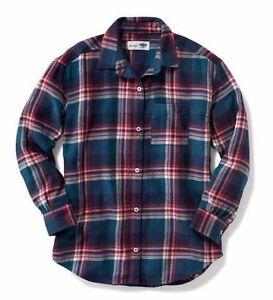 NWT Old Navy Girls Plaid Flannel Boyfriend Shirt XS(5) Green Red Top $22.94