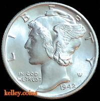 1942-D Mercury Silver Dime BU
