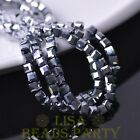 100pcs 4mm Cube Square Faceted Crystal Glass Loose Spacer Beads Silver
