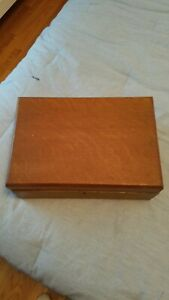 Antique Wooden English Writers Box with glass ink bottles lap box tiger oak
