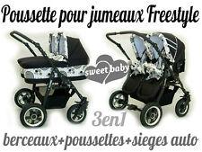 Poussette pour jumeaux FREESTYLE Poussettes+Berceaux+sieges auto noir+fantaisie