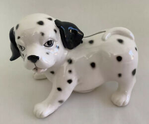 "Cute Black And White Ceramic Glazed Puppy Dog Coin/Piggy Bank - 6"" Long"