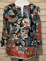 CATHERINE MALANDRINO  Women's Navy Floral Print Top Blouse Shirt Size Medium
