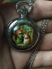 women squirrel  necklace pendant pocket watch silver tone