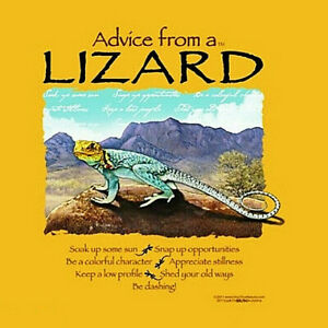 Lizard T-shirt S M L XL Advice Short Sleeve Yellow Nature New NWT Gildan