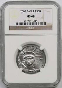 2008 Platinum Eagle $50 Half-Ounce MS 69 NGC 1/2 oz Platinum .9995