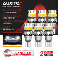 6x Auxito T15 921 W16W 6500K 2400Lm Led Back up Reverse Light Bulb Error Free(Fits: Neon)
