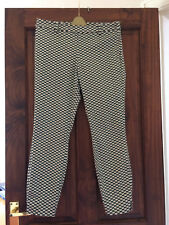 LADIES H&M TAPERED PATTERNED TROUSERS GREEN / BLACK - SIZE EUR 38  UK 12
