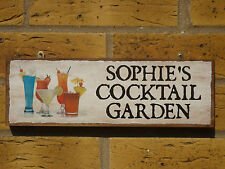 PERSONALISED GARDEN BAR SIGN COCKTAILS SIGN PARTY SIGN OWN NAME SIGN DRINKS WINE