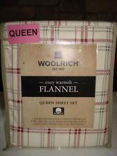 """Woolrich QUEEN XDeep flannel sheet set - burgundy/gray plaid 17"""" H mattress"""