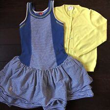 No Added Sugar Girl Striped Bustle Dress Crewcuts Cardigan Set Outfit BTS 8 9 10