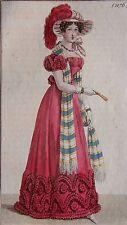 COSTUME PARISIEN, GRAVURE ORIGINALE DE 1823, COLORIS D'EPOQUE, n°2176