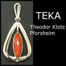 TEKA - Theodor Klotz Pforzheim - Silber Koralle Anhänger - silver coral pendant
