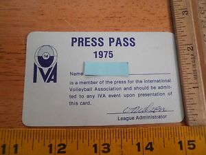 1975 International Volleyball Association Pros Media press pass RARE