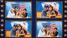 "Military Police Fire Fabric ~ 100% Cotton 24"" X 44"" Panel ~ American Heroes USA"