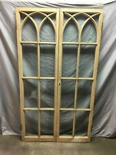 Pair Antique Gothic French Door Window Shabby Cupboard Chic 20X70 Vtg 139-19J