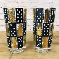 Vintage Cera Black Gold White Highball Tumbler Glasses Set 2 Chess Dominoes RARE