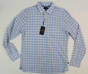 NWT ALLEN EDMONDS L 16 ½ 35 Men's Gingham Cotton Sport Shirt 1016546 Blue/Ivory
