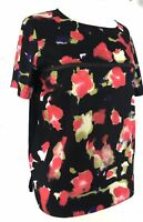 FRENCH CONNECTION Large Womens Floral Designer Top Blouse Short Sleeve