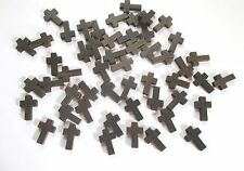 Wholesale Lot of 200 Small Dark Brown Wood Crosses, 7/8 Inches, Holes for Cords