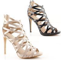 Sandali tronchetti donna eleganti estivi tacco alto plateau spuntati Gold & Gold