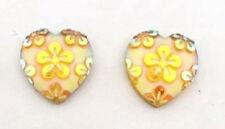 RESIN YELLOW FLOWER LOVE HEART STUD EARRINGS 12MM