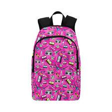 Pink Retro 80's Backpack School Bag Rucksack College Work Cassette Tape