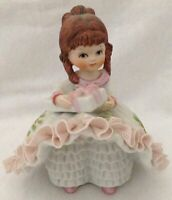 Vtg Lefton Bloomer Girl Pink Frozen Lace Redhead Holding Gift Taiwan 803