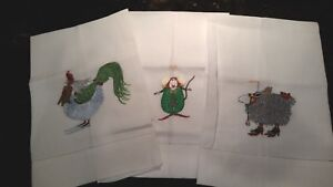 WHIMSICAL CHRISTMAS TEA TOWELS 1 ANGEL LAMB, 1 ANGEL MOUSE, 1 ANGEL CHICKEN