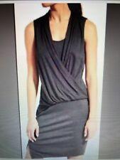 Athleta Womens Dress Asymmetric Drape Front Faux Wrap Blouson Gray Ruched Sz S